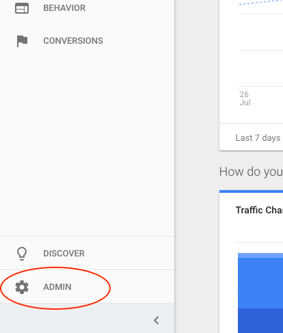 analytics help admin button